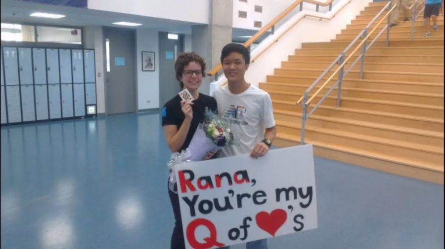 Jinho+%2812%29+and+Rana+%2812%29%3A+The+winners+of+the+promposal+contest%2C+Jinho+and+Rana%2C+saw+Jinho+promposing+with+a+magic+trick+involving+a+deck+of+cards%2C+making+creative+use+of+the+Queen+of+Hearts.+For+this+effort%2C+he+won+them+free+tickets+to+prom.