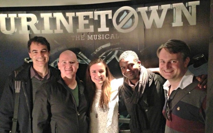 """From the TAS stage to the world stage: While in London, Mr Abernathy, Mr Edwards, Mr Franklin, and Mr Held met up with Rosie Hyland, a TAS Alumni, who has a leading role in the West End musical """"Urinetown. -Photo courtesy of Mr Edwards"""