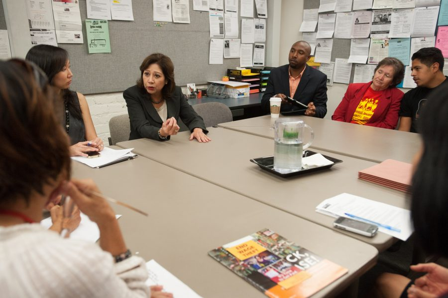 Secretary of Labor Hilda Solis visits the headquarters for the non-profit Chinese for Affirmative Action in heart of the Chinatown district of San Francisco, California.