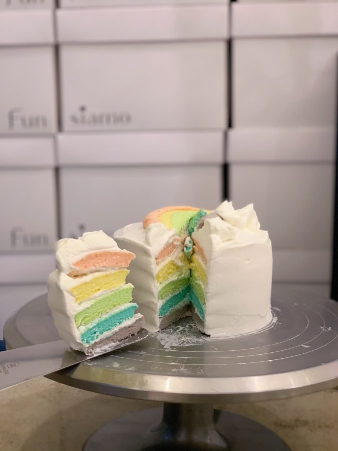 Funsiamos infamous rainbow layered cake [Natalie Scheidel/The Blue & Gold].