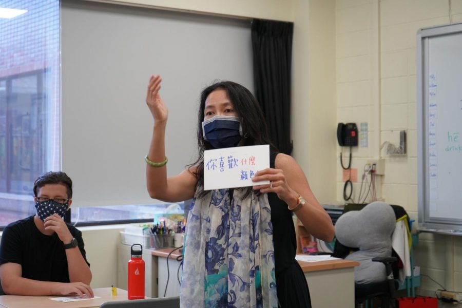 Ms. Rosalind Lin uses interactive activities to encourage having fun while learning. [Sharon Lee/The Blue and Gold]